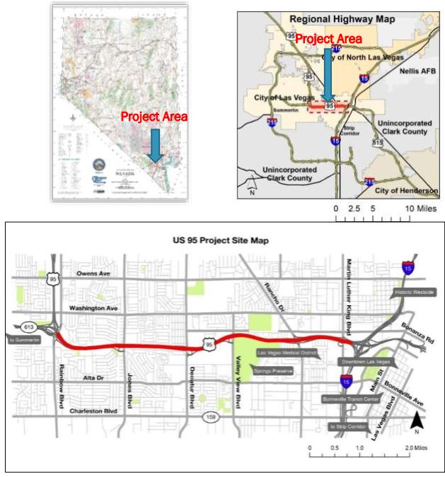 Integrate Safety Technology Corridor project location map on US-95, Nevada